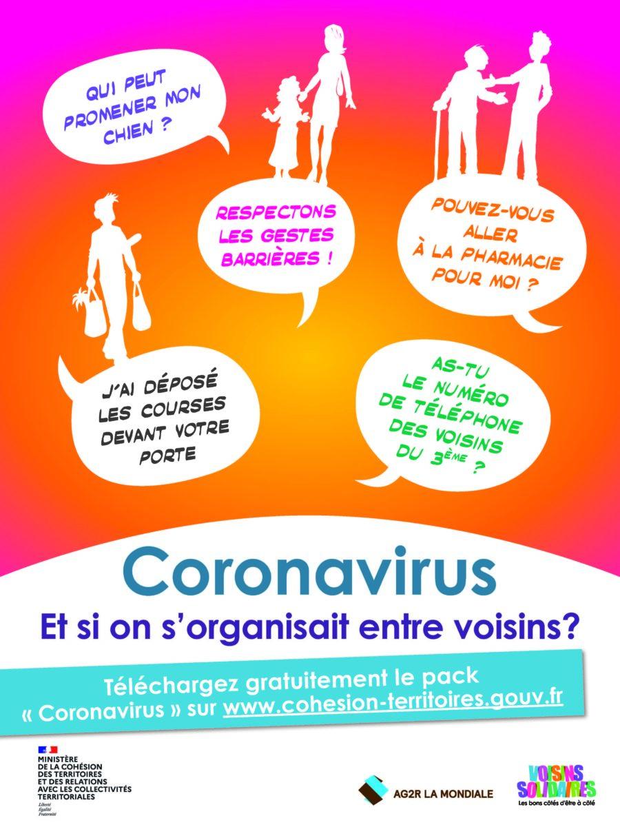 Affiche A3 Coronavirus Voisins Solidaires