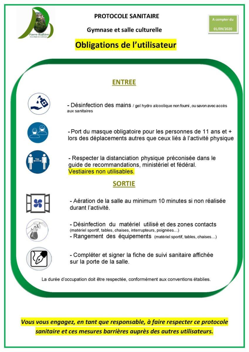 Affiche Protocole utilisation Gymnase PB