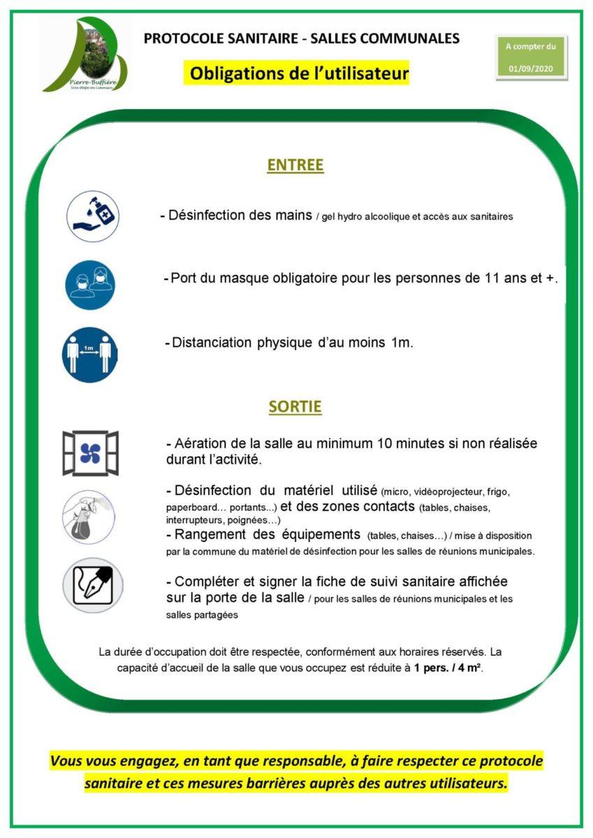 Affiche Protocole utilisation salles communales PB