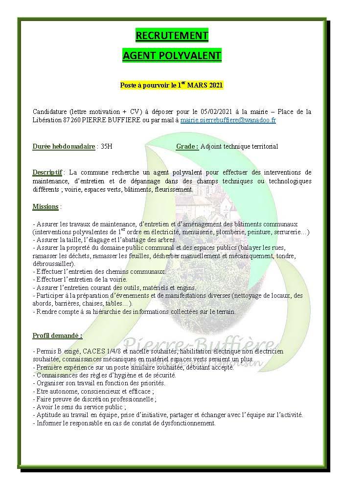 communication offre d emploi 01 MARS 2021